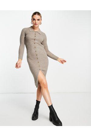 Vila Dame Hverdagskjoler - Knitted rib midi dress with button front in sand-White