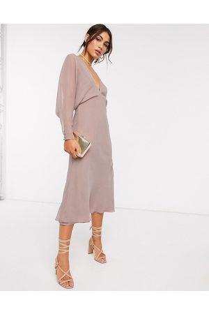 ASOS Dame Midikjoler - Soft batwing midi dress-Multi