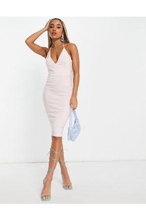 Vesper Dame Midikjoler - Plunge front midi dress in stone-Pink