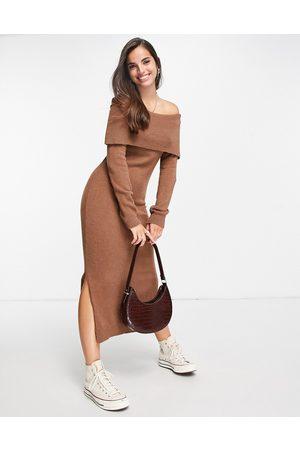 Miss Selfridge Mocha fold over bardot midaxi dress-Brown