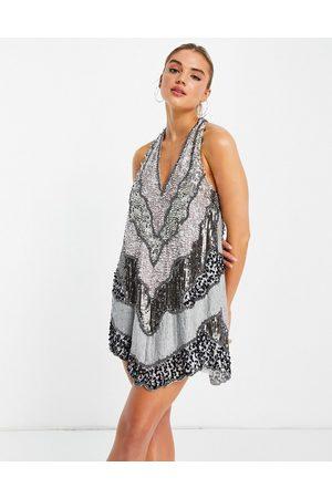 ASOS DESIGN Patchwork embellished halter mini dress with open back-Grey