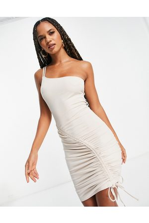 NA-KD Ruched detail bodycon midi dress in -Neutral