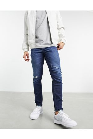 ASOS Herre Skinny - Cropped skinny jeans in 'less thirsty' dark blue wash with rips