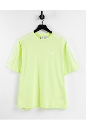 adidas Adicolor three stripe satin look t-shirt in yellow