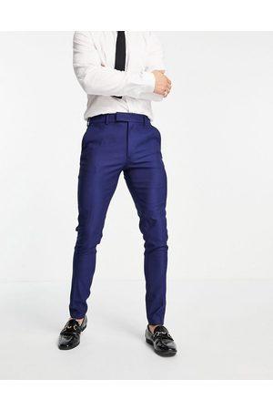 ASOS Smart oxford skinny suit trousers in navy