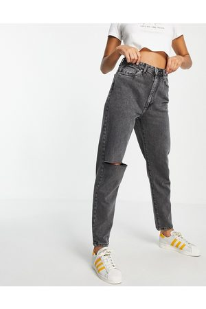 Cotton On Mom jeans with ripped knee in washed black
