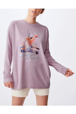 Cotton On Dame Langermede - Relaxed long sleeve graphic t-shirt in lilac-Purple
