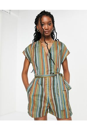 French Connection Dame Playsuits - Striped open back playsuit in multi