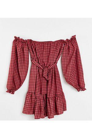 John Zack Dame Mønstrede kjoler - Off shoulder long sleeve mini dress in taupe check print-Multi