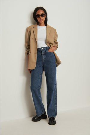 NA-KD Dame Wide Leg - Økologiske front Yoke vide jeans