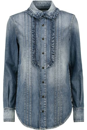 Saint Laurent Ruffled denim shirt