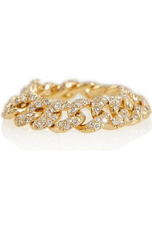 Shay 18kt gold chain ring with diamonds