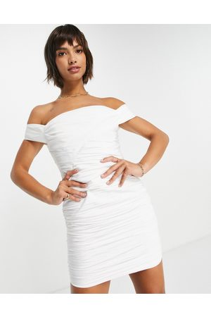 ASOS Bardot ruched mini dress in white