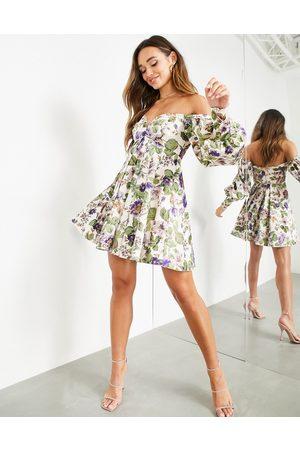 ASOS Off shoulder mini dress in floral print-Multi