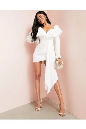 ASOS Luxe Cotton dress with drape detail and ruffles in white