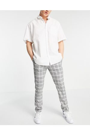 Topman Herre Chinos - Skinny check trousers in grey and white-Multi