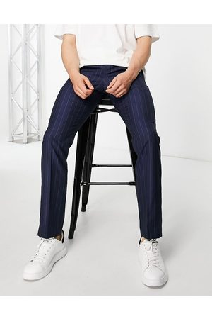French Connection Herre Chinos - Slim fit striped trousers-Navy