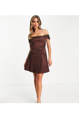 Collective The Label Dame Selskapskjoler - Exclusive corset taffeta mini dress in chocolate brown