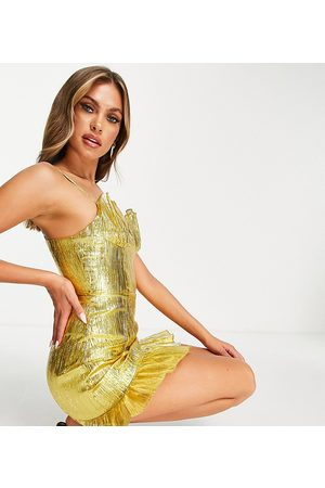 Collective The Label Exclusive cupped metallic mini dress in gold