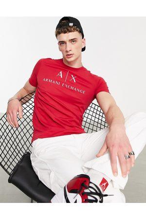 Armani Herre Kortermede - Text logo t-shirt red