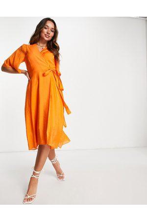 In Wear Dame Hverdagskjoler - Hazini wrap front midi dress in orange