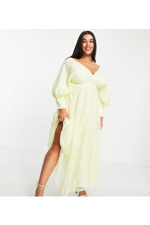 ASOS Curve blouson sleeve midi dress in organza check in pale yellow