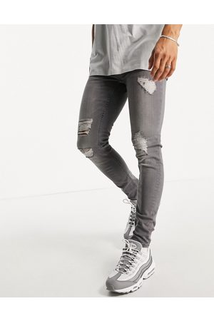 Only & Sons Herre Skinny - Skinny fit jeans with rips in grey wash