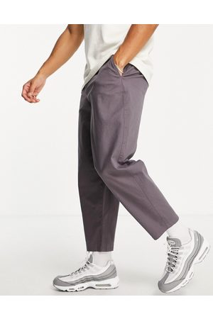 ASOS DESIGN Balloon fit chinos in charcoal-Purple