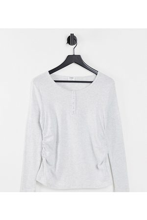 Cotton:On Maternity Basic Henley long sleeve top in grey