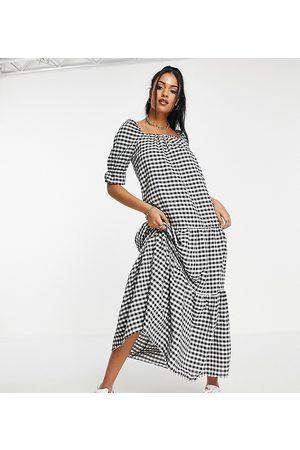 ASOS Tall Dame Maxikjoler - ASOS DESIGN Tall tiered maxi smock dress in mono gingham-Multi