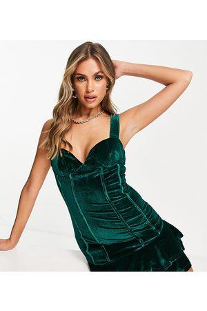 Collective The Label Dame Selskapskjoler - Exclusive velvet corset mini dress in emerald green