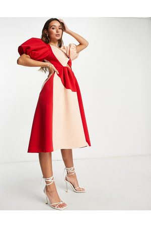 ASOS Dame Midikjoler - Puff sleeve twist plunge cut out prom midi dress in contrast colour-Multi