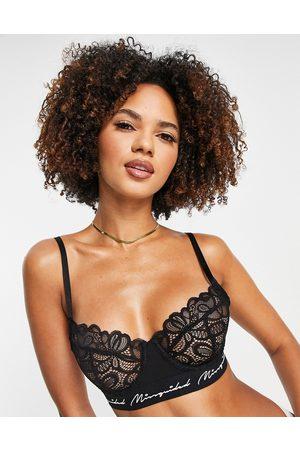 Missguided Lace balconette bra in black