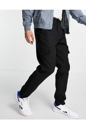 SELECTED Herre Cargobukser - Slim tapered cargo trousers in black