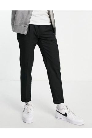 Topman Herre Chinos - Smart tapered trousers with turn up in black