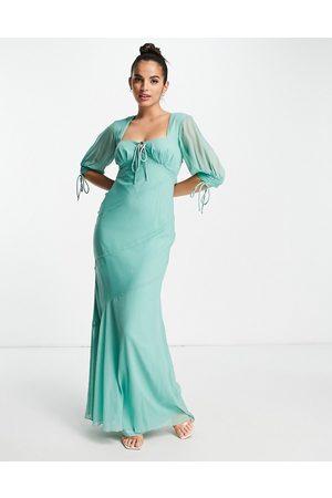 ASOS DESIGN Dame Maxikjoler - Maxi tea dress with bias cut panels and tie details in sage-Blue