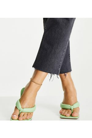 ASOS Wide Fit Haven padded toe thong heeled sandals in green
