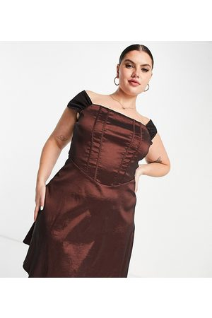 Collective the Label Curve Exclusive corset taffeta mini dress in chocolate brown