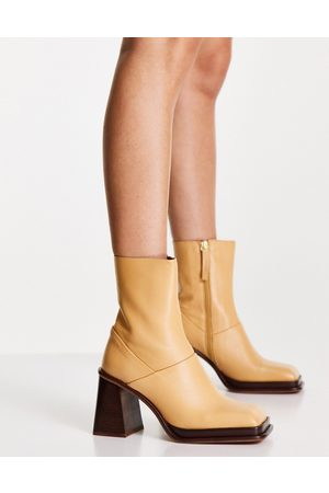 ASOS Rochelle premium leather platform heeled boots in camel-Neutral