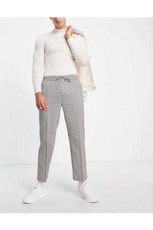 Topman Wide leg crop check pupstooth trousers-Neutral