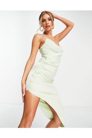 Missguided Dame Midikjoler - Satin drape midi dress in sage-Green