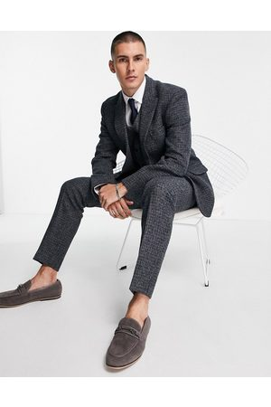 ASOS DESIGN Herre Chinos - Slim suit trousers in 100% wool Harris Tweed with blue micro check