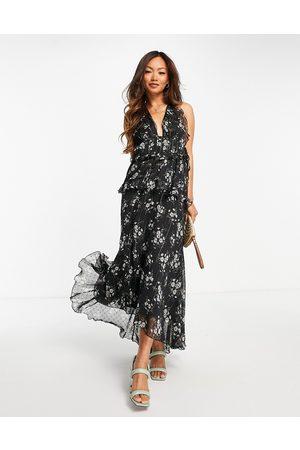 ASOS Dame Mønstrede kjoler - Halter neck floral print midi dress with ruffle detail-Multi