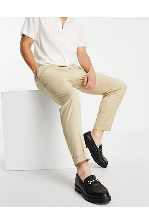 Topman Smart tapered trousers with turn up in ecru-White