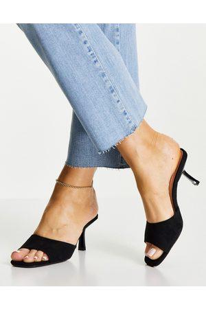 New Look Dame Høyhælte sandaler - Suedette mid heeled mule in black