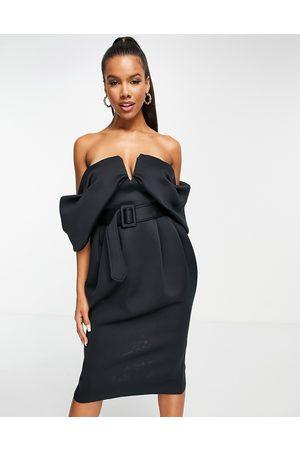ASOS DESIGN Off shoulder draped bandeau midi dress with self buckle belt in black