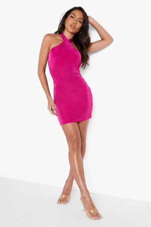 Boohoo Slinky Halterneck Rouched Mini Dress