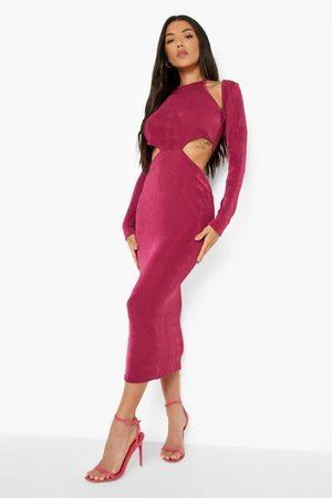 Boohoo Cut Out Long Sleeve Midaxi Dress