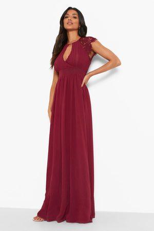 Boohoo Lace Detail Wrap Pleated Maxi Dress