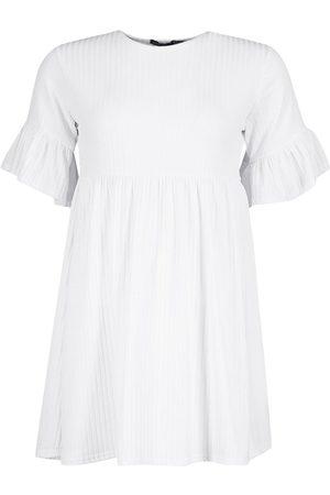 Boohoo Petite Recycled Rib Frill Sleeve Smock Dress